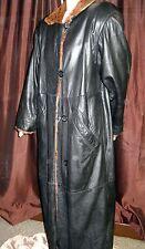 "Black 52"" Leather Coat with Rabbit Fur Liner – Reversible; size 14"