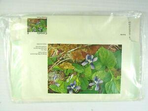 Canada Floral Aerogrammes  Purple Violet Paper Envelope & Stamp Alma Duncan MNH