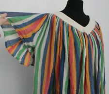 Vintage 1970s Cheesecloth Top Multi Coloured RAINBOW Hippy Boho Festival Top