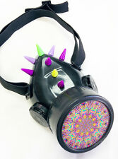 Cyber Punk Industrial Goth Rave Gas Mask Respirator Spike Yel/Purp Single #32986