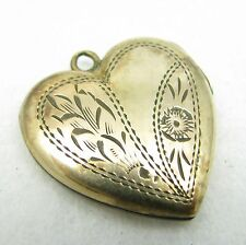 Vintage Gold Filled Etched Heart Necklace Pendant Photo Locket