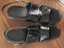 Vintage Red Cross High Heel Sandal Shoes, Black Patent, 7 1/2 Narrow