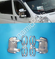 PEUGEOT BOXER ABS CHROME 4 DOOR HANDLE COVERS + CHROME WING SIDE MIRROR COVERS