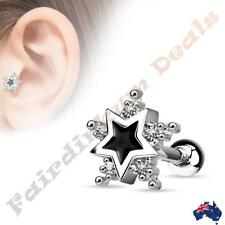 Surgical Steel Tragus/Cartilage Stud with 5 CZ Star & Black Enamel Centre Star