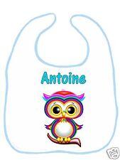 Bavoir bébé blanc bordure bleue réf G03 personnalisé avec prénom