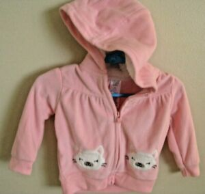 Carters just one you baby Girl Size 6 M Pink hooded jacket kitty cat Zip Up Coat