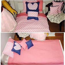 """Sweet Heart Valentines theme American girl doll or 18"""" Dolls 7 Piece Bedding Set"""