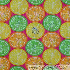 BonEful Fabric Cotton Pink Yellow Green Orange Citrus Fruit Seersucker Dot SCRAP