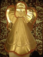 Vintage Copper Punched Design Angel On Red Felt Christmas Tree Topper