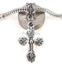 Leaf Cross Dangle Add a Bead Large Hole Slider for European Charm Bracelet