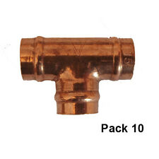 15mm Solder Ring Copper Pipe Fittings Equal Tee (Pack 10)