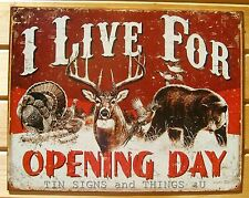 I Live for Hunting Tin Sign metal turkey deer buck bear love cabin decor 1816