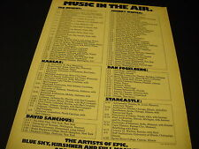 DAN FOGELBERG Kansas TED NUGENT Starcastle more 1976 TOUR DATES Promo Display Ad