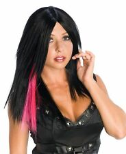 pink black streak punk fun WIG womens halloween costume