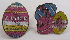 EASTER EGGS LAPEL / HAT PINS ~ Set of 2 ~ ENAMEL ~ Locking Pin Backs