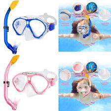 Kinder Schnorchel-Set Anti BeschlagTauchermaske Taucherbrille Age 5-13 pink/blau