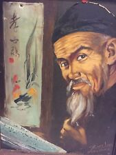 Vintage 1940's 50's Oil Painting on Canvas of Chinese Gentleman by TOM WONG
