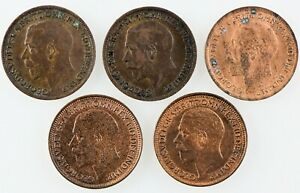 Great Britain:1918 (2), 1919, 1929 (2) Farthing, High grade lot. Total 5 Coins
