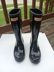 Kids Hunter Wellies High Gloss Black Rain Boots Unisex Size 3B / 4G