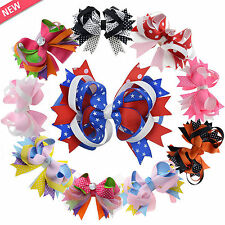 10PCS 5'' Hair Bows Alligator Boutique Clips Girls Baby Hair Ribbon Kids Colors