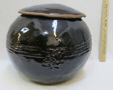 Vintage Round Rice Pot Bowl Vase Japanese Pottery WWII Era Brown Glaze w/ Lid