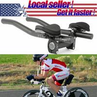 Bicycle Road Mountain Bike Alloy Triathlon Aero Rest Handle Bar Clip On Tri Bars