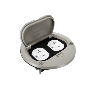 Nickel Plated Brass Flip Up Floor Box Cover 20A TR Weather Resistant Outlet