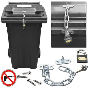 Wheelie Bin Lid Chain Lock-Easily Fitted with Padlock NO DRILLING - Stop Fly Tip