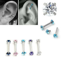 2Pcs 16G CZ Gem Round Steel Barbell Tragus Cartilage Helix Stud Earring Piercing