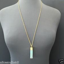 Trendy Gold Long Chain Turquoise Stone Rectangle Shaped  Pendant Boho Necklace