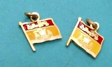 Vintage Golden Bracelet Two Mini Charms R23 N.B. Enamel Flags