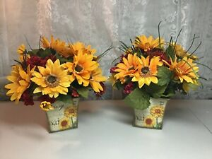 Two Artificial Fall Floral  Arrangements Sunflowers in Delightful Tins