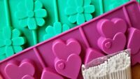6 DOUBLE HEART SHAPE & FLOWERS SILICONE CHOCOLATE LOLLY MOULDS 2 PACK Lollipops