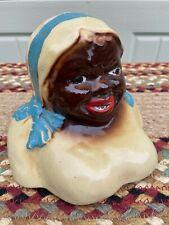 VINTAGE CERAMIC - BLACK AMERICANA - COOKIE JAR LID ONLY - #2 LADY