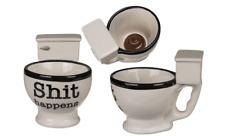 Kaffeebecher XXL Kaffeetassen lustig Tassen Toiletten Shit happens 1 Stück