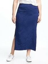 Old Navy Women's Plus Navy Blue & White Striped Jersey Maxi Skirt Size 2X