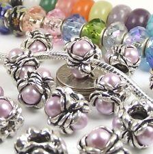 Purple Flower Screw On Threaded Stop Bead for Silver European Charm Bracelet