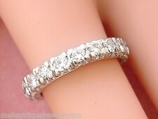 VINTAGE 1.52ctw BRILLIANT DIAMOND PLATINUM ETERNITY BAND RING 1950 size 5.75 - 6