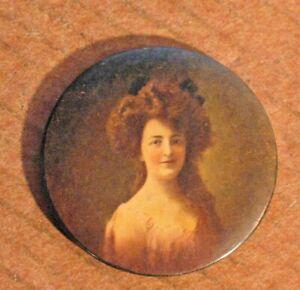Antique Vintage Victorian  Lady Pocket Mirror