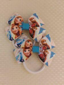 Frozen Elsa Anna Disney princess Hair Bows bobbles x2 Hair Accessories ribbon