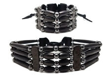 Handmade 4 Row Black Buffalo Bone Hairpipe Beads Tribal choker and Bracelet Set