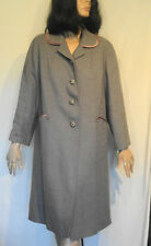 Vintage Gray Coat Light Weight Wool Weave Satin Trimmed B44 Bromleigh