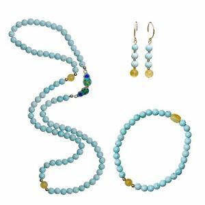 Natural Turquoise Baltic amber Elegant Vintage Necklace Bracelet Earring Dangle