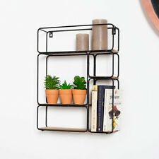 Rectangle black wire wood art deco retro wall shelf unit shelving display home