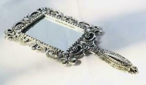 Metal Engraved Handheld Mirror Decorative Vintage Compact Vanity Mirrors 18X10CM
