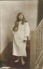 British vintage hand painted Rotary photograph postcards Girl & Dog QR986