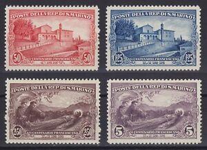 San Marino 1928 San Francesco n.137-140 s. nuova MLH* g. originale, linguellata
