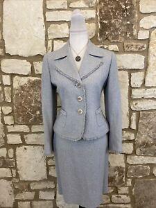 Tahari Petite Women's 2Pc Skirt Suit Light Blue Size 8P *EUC
