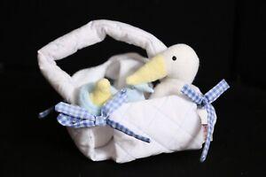 Baby Gund 1992 Vintage White Basket + Stork, Bottle Rattle, Dog Wash Cloth 1992