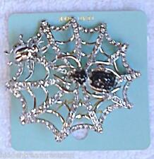 Spider Web Crystal Pin Silver Tone